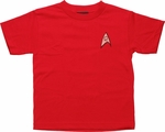 Star Trek Engineering Red Juvenile T Shirt