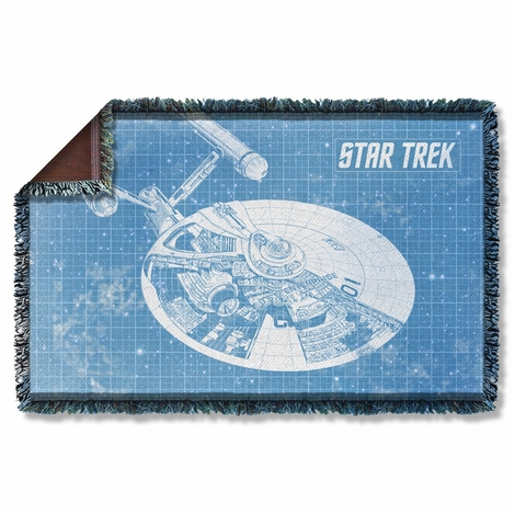 Star Trek Enterprise Blueprint Throw Blanket