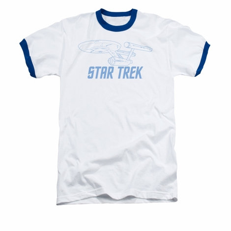 Star Trek Enterprise Outline Ringer T Shirt
