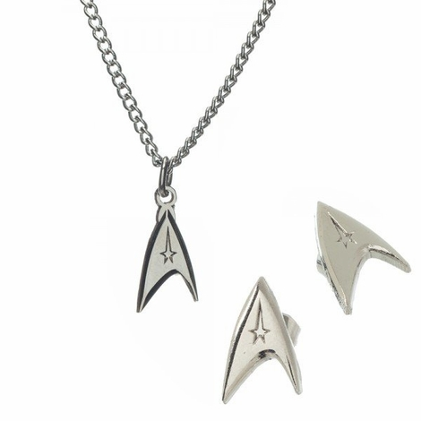 Star Trek Insignia Necklace Earrings Jewelry Set