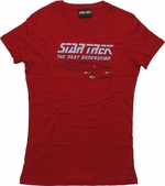 Star Trek Next Generation Vintage Dark Red Baby Tee