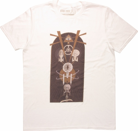 Star Trek Ships and All Seeing Eye Symbol T-Shirt