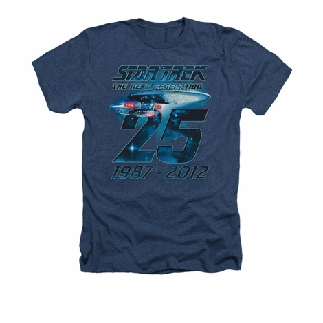 Star Trek TNG 25 Years Navy Heather T Shirt
