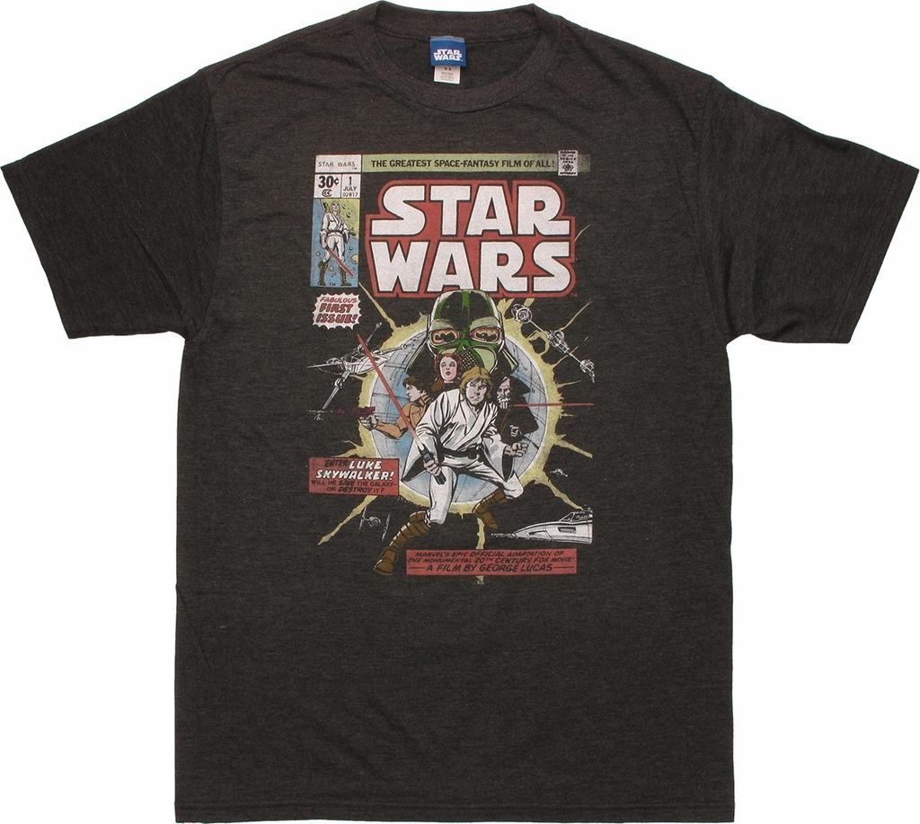 Star Wars Comic First Issue Charcoal T Shirt Sheer