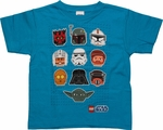 Star Wars Lego Heads Blue Juvenile T Shirt