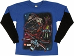 Star Wars Lego Ship Battle Long Sleeve Youth T Shirt
