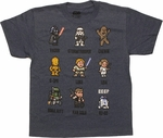 Star Wars Pixel Art Grid Youth T Shirt