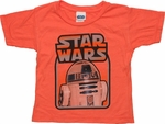 Star Wars R2 D2 Framed Orange Toddler T Shirt