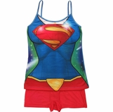 Supergirl Suit Cami and Shorts Junior Pajama Set