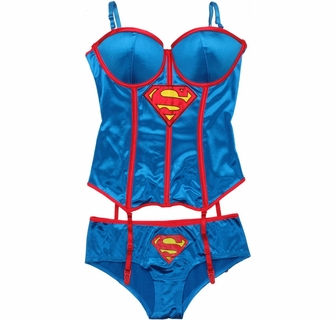 Superman Corset and Briefs Lingerie Set