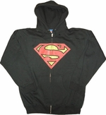 Superman Distressed Logo Black Hoodie