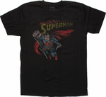 Superman Flying Name Vintage T Shirt Sheer