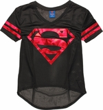 Superman Foil Logo V Neck Mesh Juniors T-Shirt
