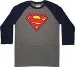 Superman Logo 3/4 Raglan T Shirt