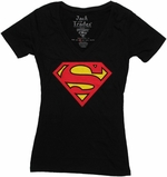 Superman Logo Black V Neck Baby Tee