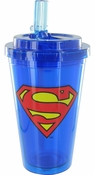 Superman Logo Flip Straw Travel Cup