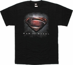 Superman Man of Steel Shield Above Words T Shirt