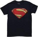 Superman Man of Steel Vintage Logo T Shirt Sheer