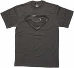Superman Man of Steel Zod Subtle Logo Charcoal T Shirt