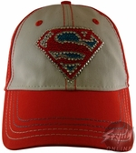 Superman Rhinestones Orange Junior Hat