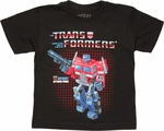 Transformers Optimus Box Art Juvenile T Shirt