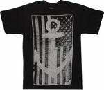 USA Flag Gray Anchor T Shirt
