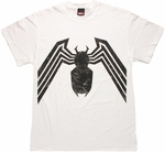 Venom Black Spider On White T Shirt