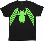 Venom Green Logo Black T Shirt