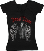 Walking Dead Daryl Wings Braided Neck Baby Tee