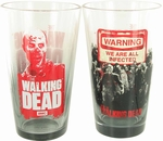 Walking Dead Zombie Warning Gray Tint Pint Glass Set