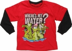 Wheres My Water Group Red Long Sleeve Juvenile T Shirt