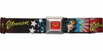 Wonder Woman Face and Stars Seatbelt Belt