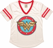 Wonder Woman Foil Logo Mesh Jersey Ladies Tee