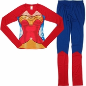 Wonder Woman Suit Long Sleeve Junior Pajama Set