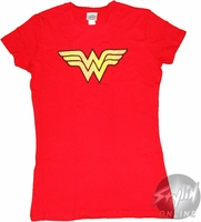 Wonder Woman Symbol Distressed Baby Tee