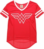Wonder Woman V Neck Mesh Juniors T-Shirt