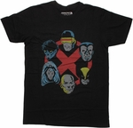 X Men Six Heads Logo T Shirt Sheer