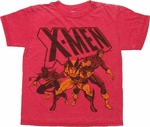 X Men Trio Red Burnout Youth T Shirt