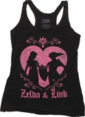 Zelda and Link Heart Junior Tank Top