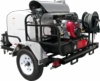 Pressure Pro TR5115PRO-30VA Hot Water Trailer (5.5 GPM @ 3500 PSI) with 18 HP Vanguard engine, HP pump made by General, 115VAC Beckett burner, with generator.