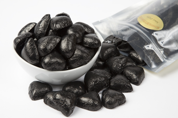 Black Foiled Milk Chocolate Hearts (1 Pound Bag)
