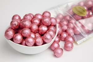Bright Pink Foiled Milk Chocolate Balls (1 Pound Bag)