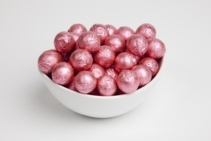 Bright Pink Foiled Milk Chocolate Balls (10 Pound Case)