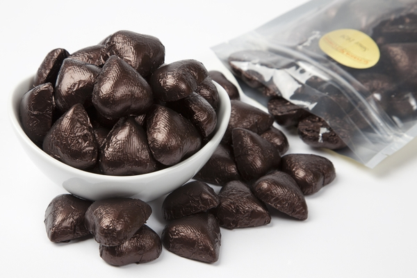 Brown Foiled Milk Chocolate Hearts (1 Pound Bag)