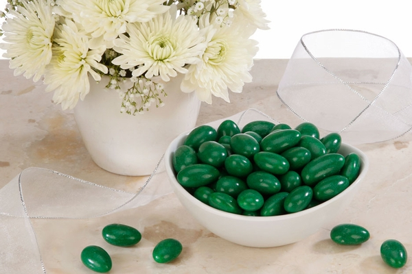 Dark Green Jordan Almonds (5 Pound Bag)