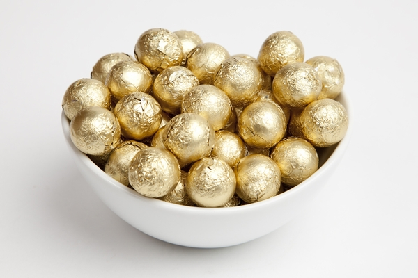 Gold Foiled Milk Chocolate Balls (5 Pound Bag)