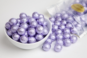 Lavender Foiled Milk Chocolate Balls (1 Pound Bag)