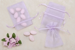 Lavender Sheer Organza Party favor Bags (Pack of 10)