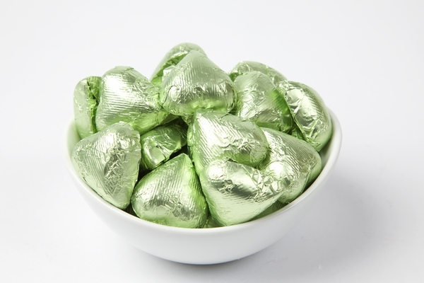 Leaf Green Foiled Milk Chocolate Hearts (10 Pound Case)