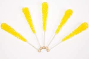Lemon Wrapped Rock Candy Sticks (120 Pieces)